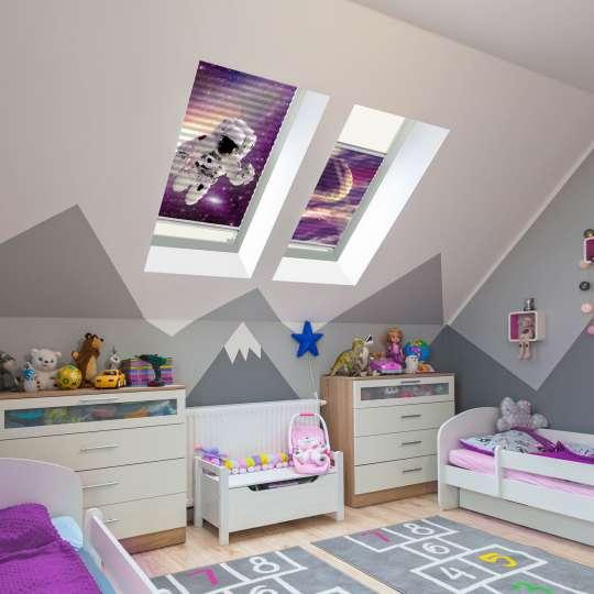 Kinderzimmer - Plissee mit Raumfahrt-Motiven