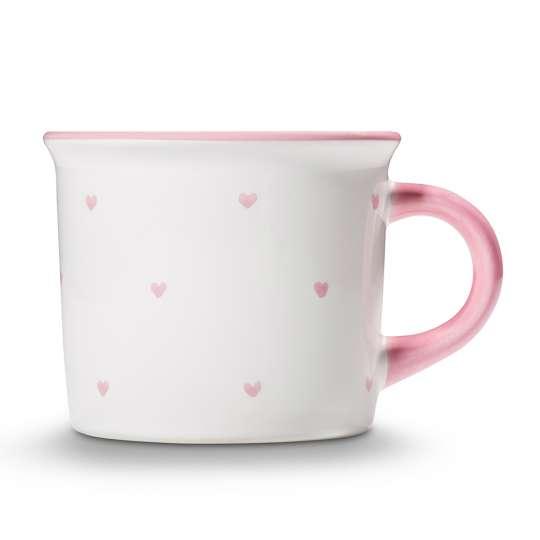 GmundnerKeramik Valentinstag Variation rosa – Kaffeehäferl Herzerl rosa 0012HKGL09