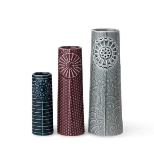 DOTTIR – Vasen-Set PIPANELLA – Freisteller - Petrol, Aubergine und Dunkelgrau