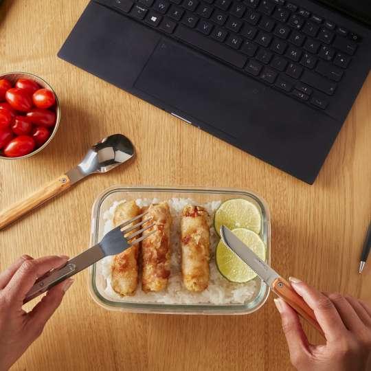 Akinod - Besteck Olivenholz - Lunch im Büro
