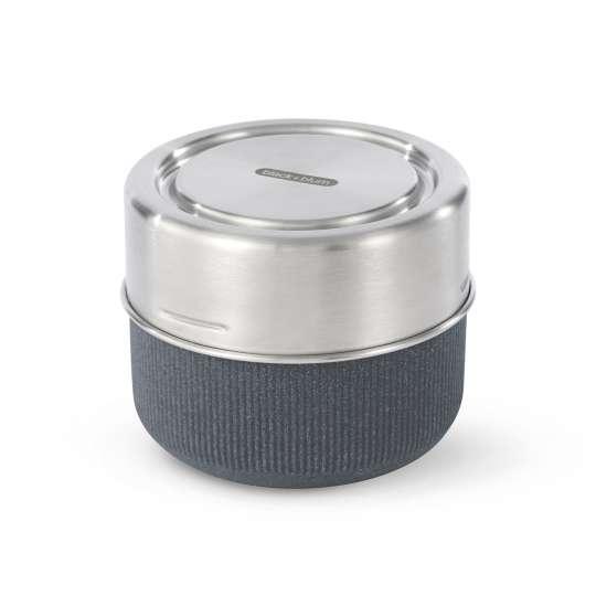 black+blum Snackschale aus Glas und Edelstahl inkl. Deckel aus Recyclingmaterial, Farbe: Schiefer GR-LB-M015