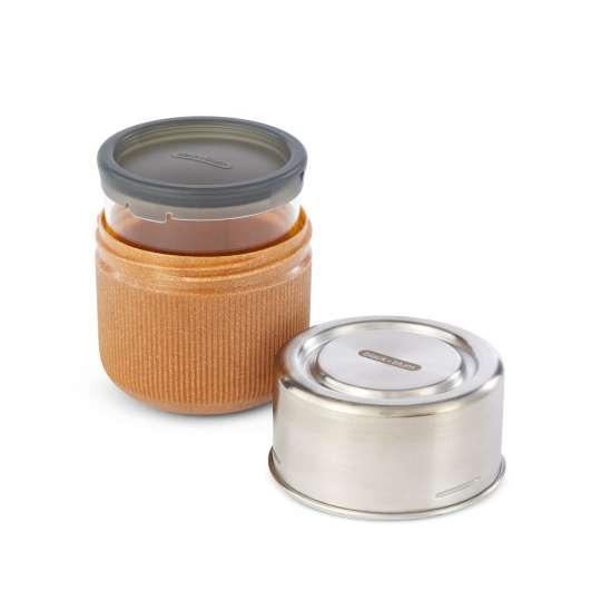 black+blum Snackschale aus Glas und Edelstahl inkl. Deckel aus Recyclingmaterial, Farbe: Mandel GR-LB-S014