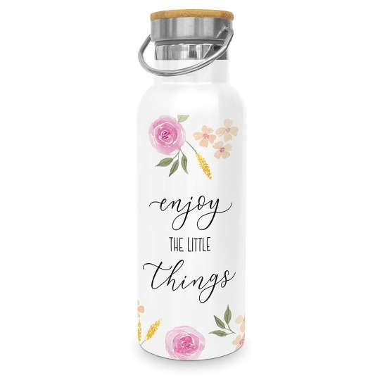 Design-at-home - Edelstahlflasche 0,5l - Enjoy the little things