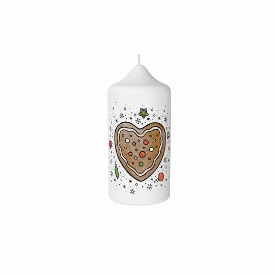 Stumpenkerze Lebkuchenherz von Engels Kerzen