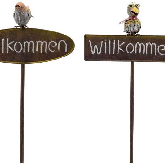 Exner ArtFerro Voegel auf willkommen-Schild 240553