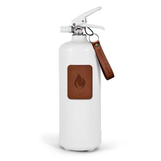 Nordic Flame - Feuerloescher weiss/Leder dunkelbraun 2kg –N130