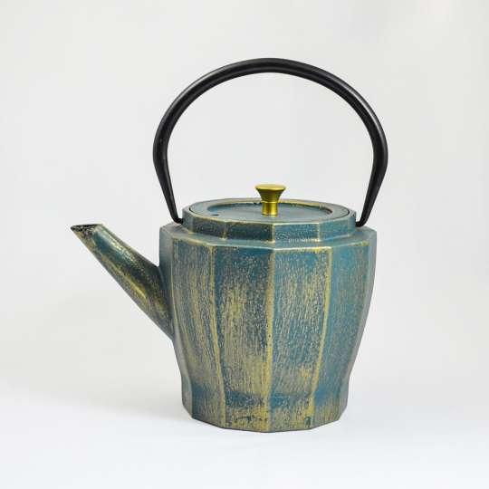 ja-unendlich: Frühling / Teekanne blau-gold, schmal