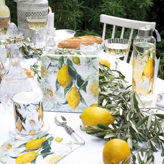 Ambiente Lemon Servietten, Glasflasche und Kerze