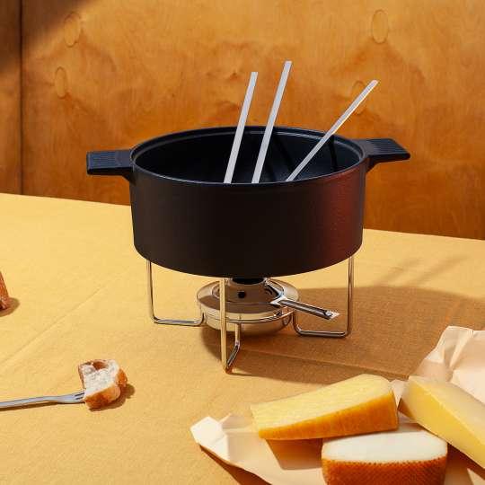 Mono Fonduegerät Käse mit Deko und Gabeln
