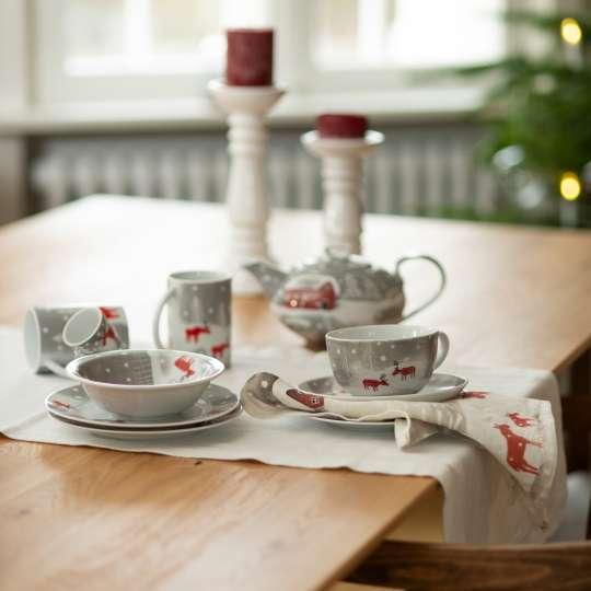 Schulz Home - Leinenhandtuch Schneeelche und Porzellangeschirr - Kerzen