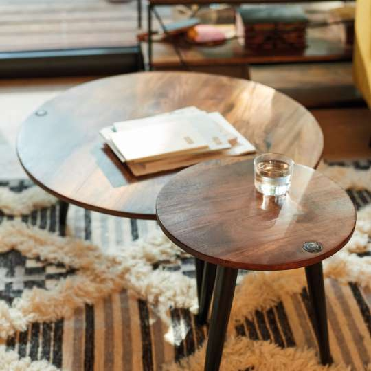 Tom Tailor Wood Tables 40, 50 cm und Teppich Cozy Kelim