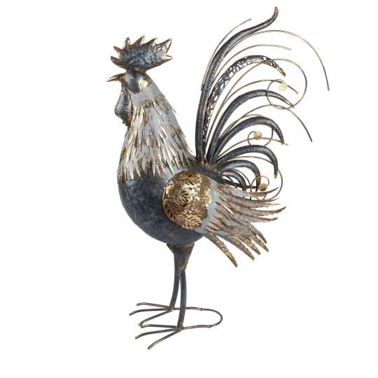 Formano - Deko-Figur Hahn - Hahn Schwarz-Gold aus Metall Art.-Nr. 556899,