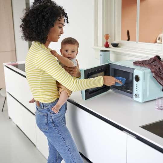 MEPAL MIO Kinderschale Türkis 10 80030 12400 - Mood- Mutter und Kind an der Microwelle