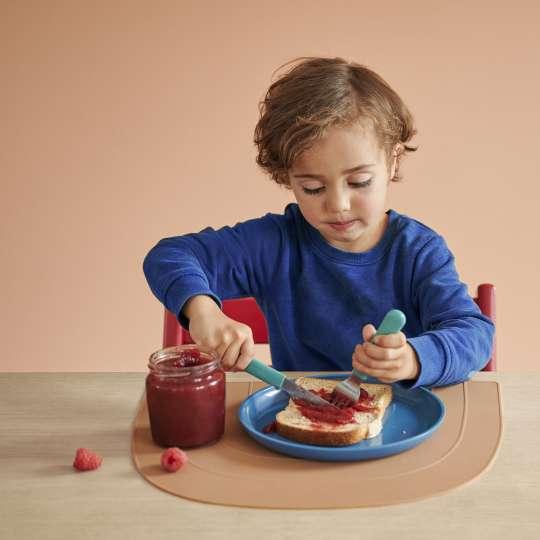 MEPAL MIO  - Kinderteller Dunkelblau 10 80010 14600, Kinderbesteck Türkis 10 80330 12400