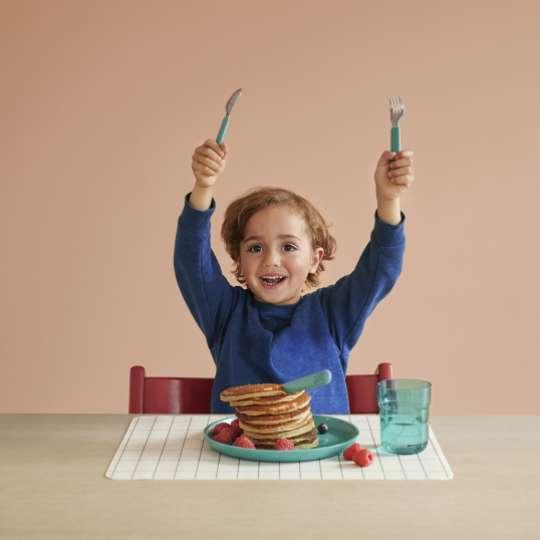 MEPAL MIO - Kinderteller Türkis 10 80010 12400, Kinderbesteck Türkis 10 80330 12400, Kinder Trinkglas Türkis 10 80210 12400