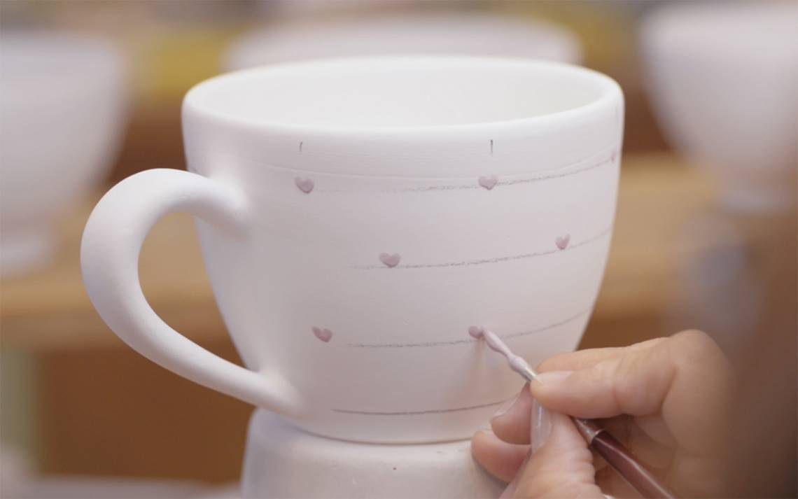 Gmundner Keramik Malerei Herzerl Rosa