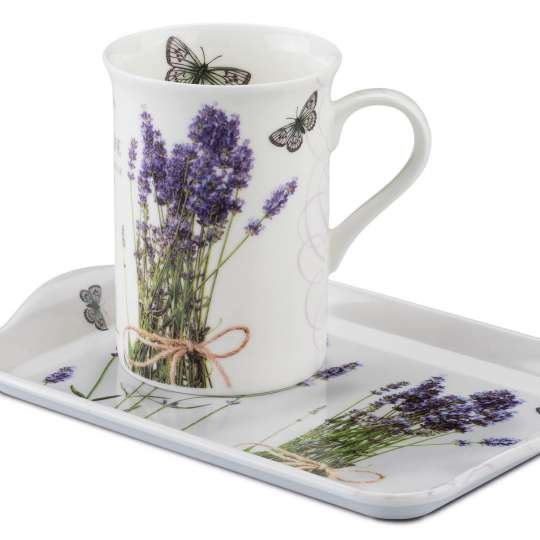 Ambiente Europe Bunch of Lavender Becher und Tablett