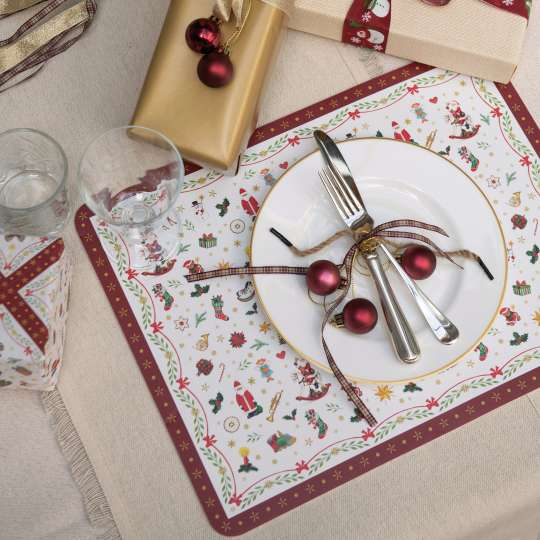 "Ambiete Europe ""Christmas All Over"" Tischsets mit Teller"