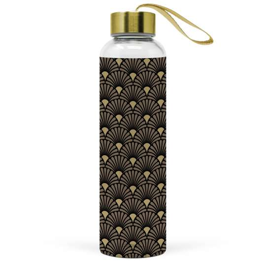 "Glasflasche ""Art Deco black/gold"""