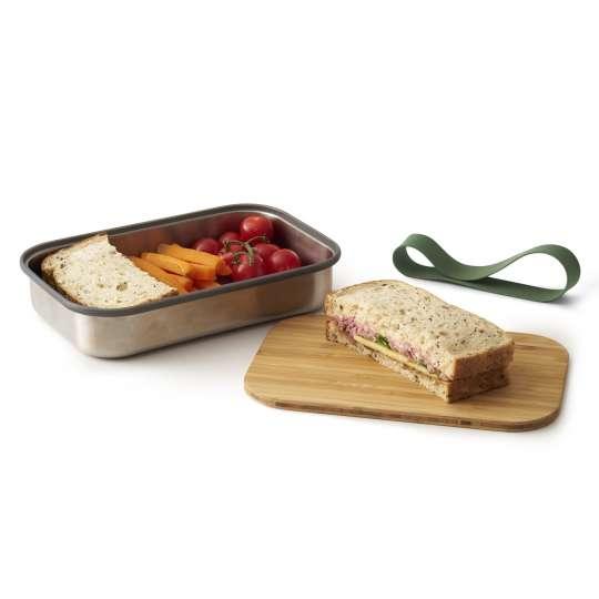 Black und Blum Edelstahl Sandwichbox mit Bambusdeckel BAM-SB010