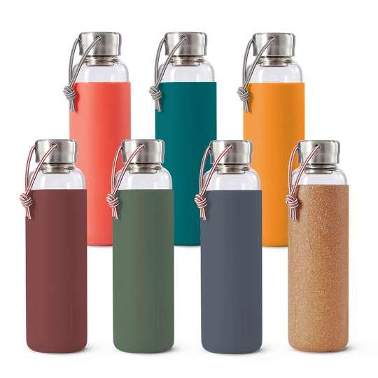 Black + Blum Stilvolle Wasserflaschen aus Glas Farbpalette