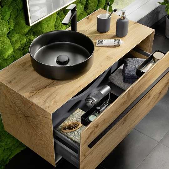 Fackelmann: Lanzet Woodblock Waschtisch mit geöffneter Schublade
