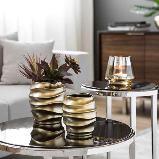 Fink Living FABIA / Vase-Übertopf, Keramik, goldfarben