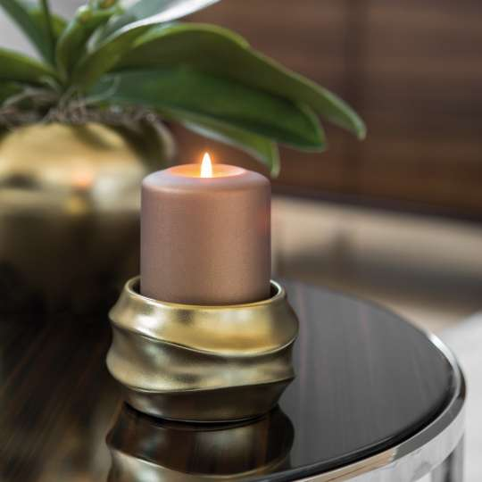 Fink Living FABIA / Stumpenhalter, Keramik, goldfarben