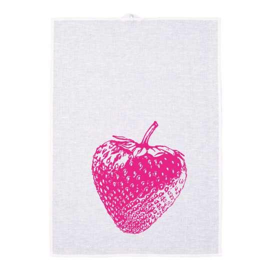 Frohstoff Geschirrtuch Erdbeere Pink Halbleinen 158