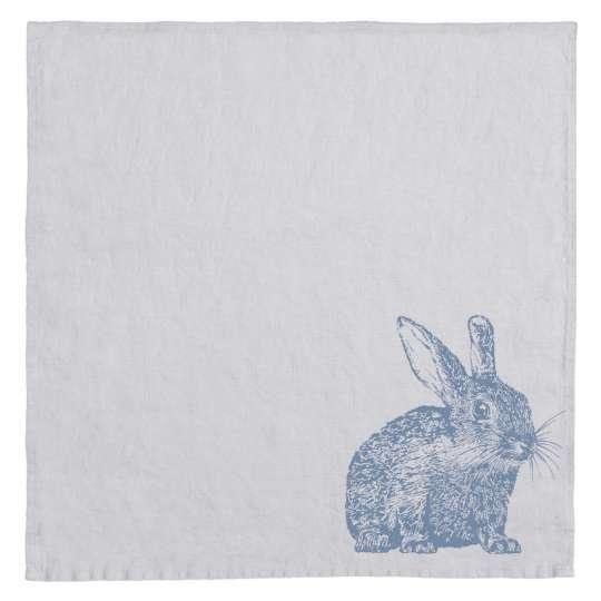 Frohstoff Serviette Leinen grau, Kaninchen blau