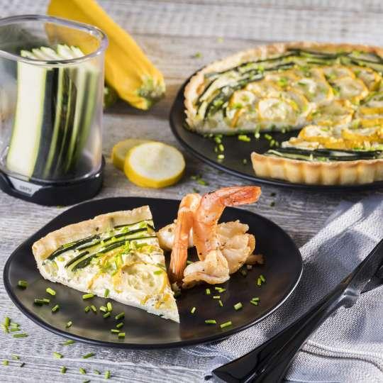 Rezept GEFU - Zucchini-Zitronentarte mit gebratenen Riesengarnelen
