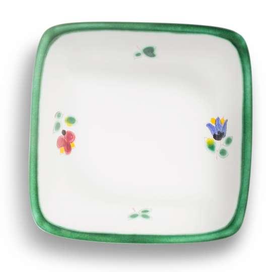 Gmundner Keramik:  Liebevolle Unikate mit Streublumendekor, Schaelchen quadratisch 0321SAQU09