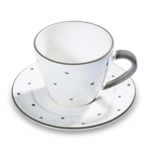 Kaffeetasse mit Untertasse Herzerl Grau