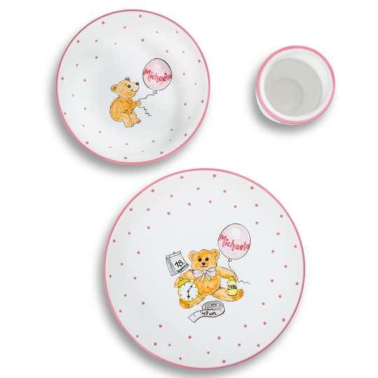 Gmundner Keramik: Kindergeschirr für die Kleinsten / Set personalisiert, rosa, Mood