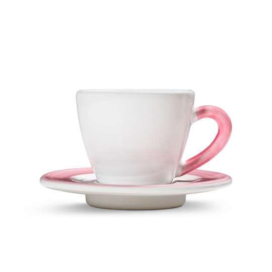 Gmundner Keramik-Variation-Rosa-Espressotasse mit Unterteller
