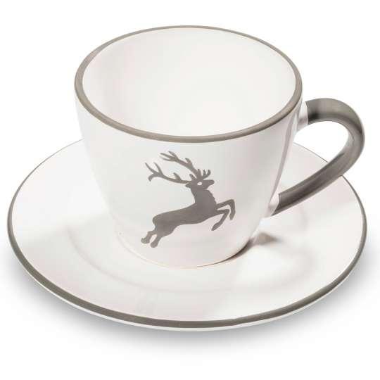 Gmundner Keramik: Muttertag / Grauer Hirsch Kaffeetasse - 0319TKGO09 mit Untertasse - 0319TUGO16