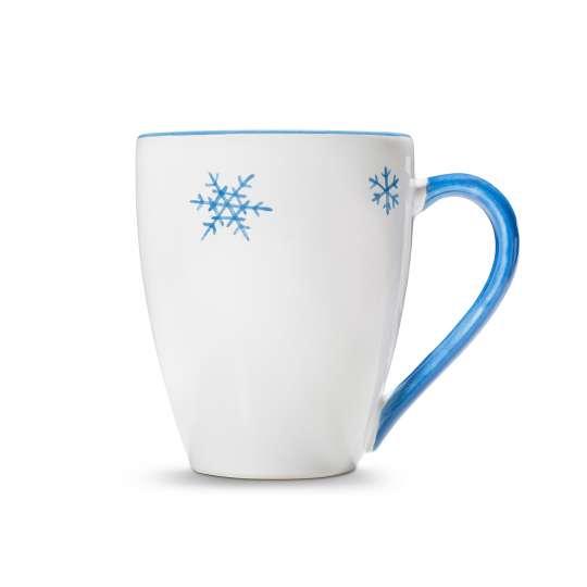 Fruehstuecksbecher Schneekristall Blau von Gmundner Keramik