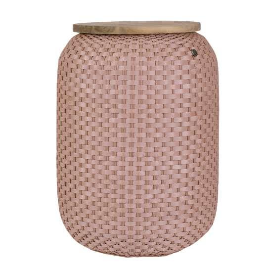 Beistelltisch Halo High - handgeflochten aus recyceltem Kunststoff, Farbe Copper blush