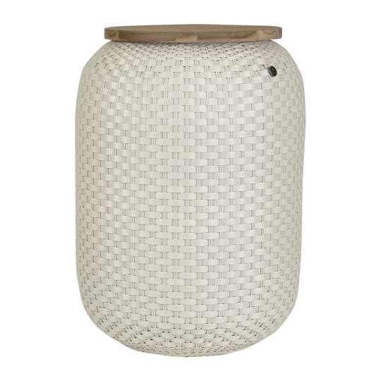 Beistelltisch Halo High - handgeflochten aus recyceltem Kunststoff, Farbe cream white