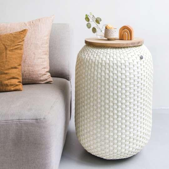 Beistelltisch Halo High - handgeflochten aus recyceltem Kunststoff, Farbe cream white, mood