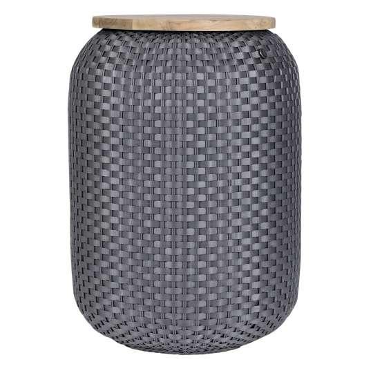 Beistelltisch Halo High - handgeflochten aus recyceltem Kunststoff, Farbe dark grey