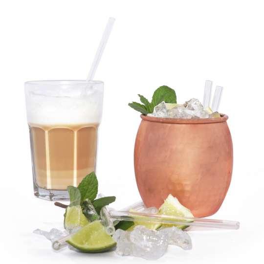 Homiez: Glastrinkhalm 'Vetro' maxi und mini, Cocktail und Latte machiatto