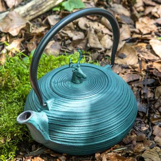 Teekannen von ja-unendlich im Country-Look / Mood Modell blau mit Hirsch