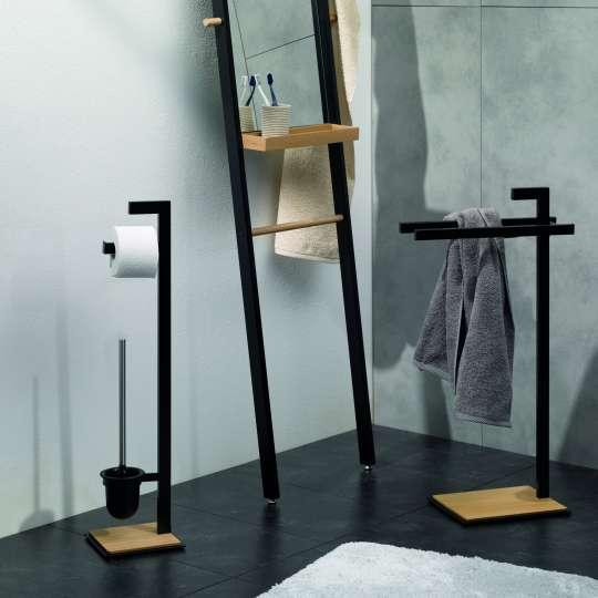 Kela - Badserie Oak - Standspiegel, Toilettengarnitur und Handtuchhalter