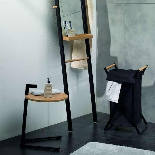Kela - Badserie Oak - Standspiegel, Tisch und Wäschesack