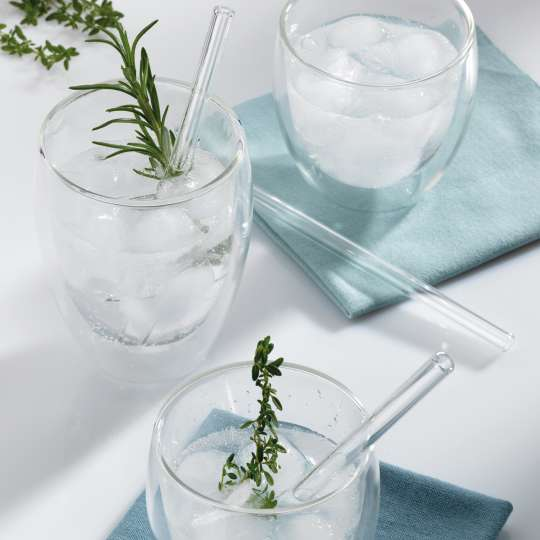 Kela: Trinkhalme Grace aus Glas / Mood Kräuter