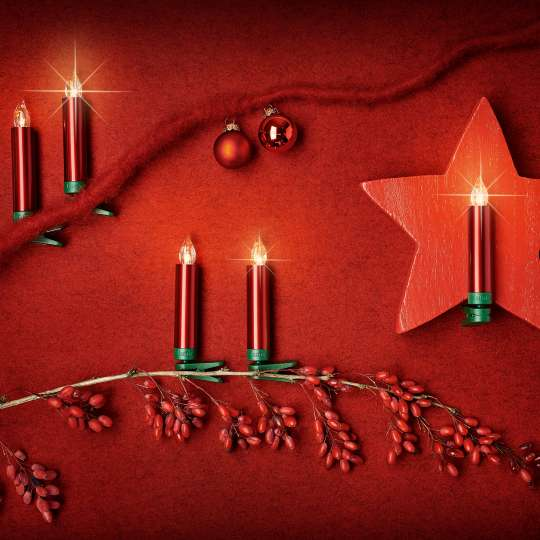 Krinner LUMIX Superlight Mini Kerzen Rot Mood 1
