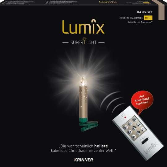 Krinner Lumix SuperLight Crystal Cashmere Mini Christbaumkerze Set