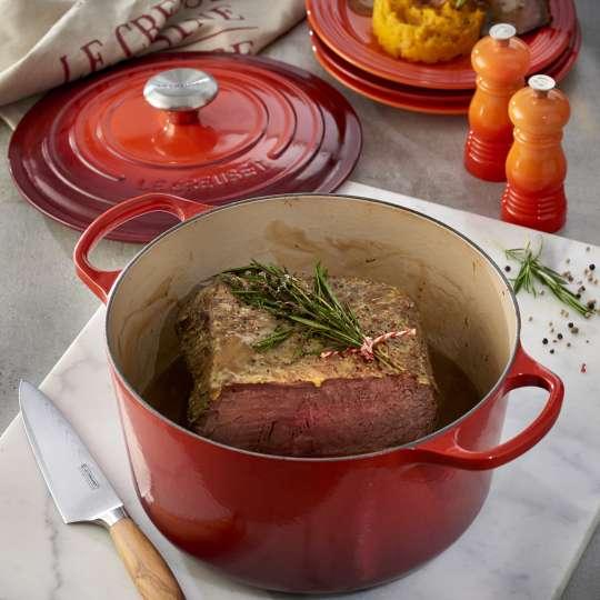 Ofen-Entrecôte mit Earl Grey-Portweinsauce und Kürbis-Selleriestampf