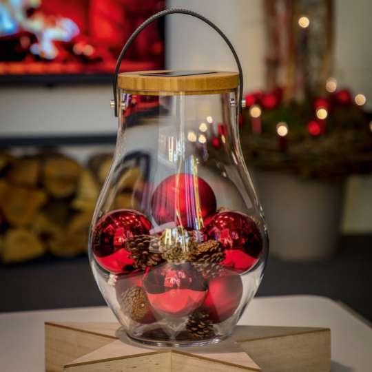 Krinner LUMIX Deco Glass, Grösse L, dekoriert mit Kugeln